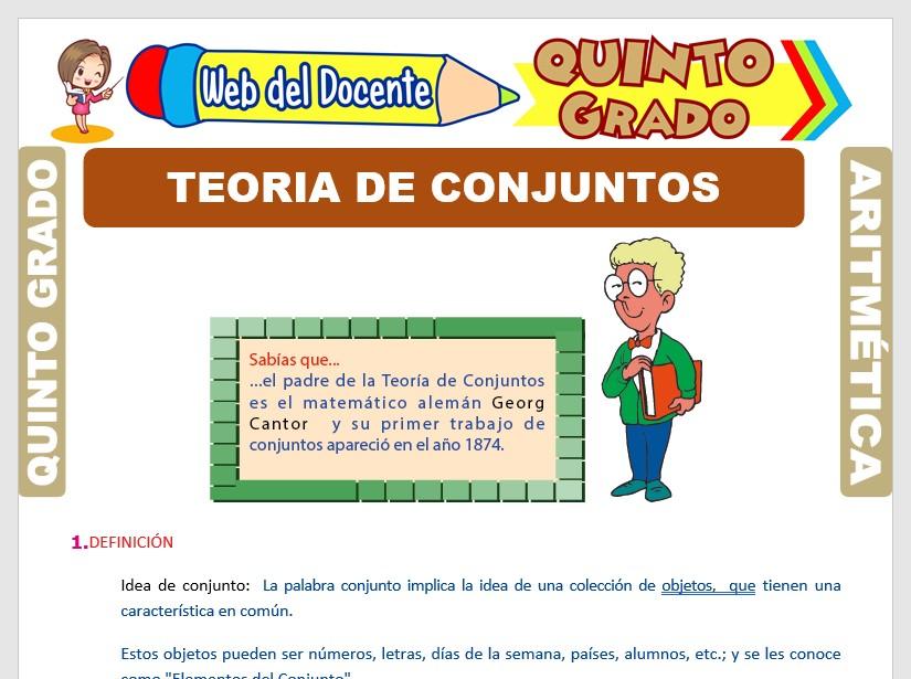 Ficha de Teoría de Conjuntos para Quinto Grado de Primaria