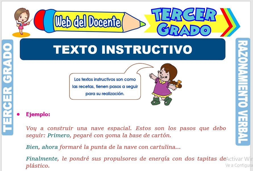 Ficha de Texto Instructivo para Tercer Grado de Primaria