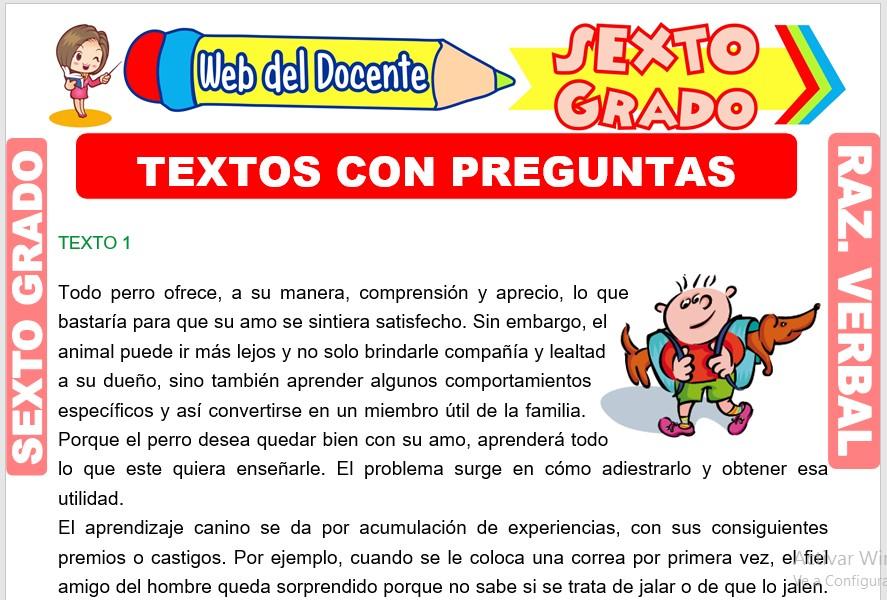 Ficha de Textos con Preguntas para Sexto Grado de Primaria