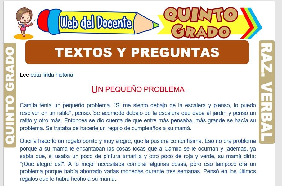 Ficha de Textos y Preguntas para Quinto Grado de Primaria