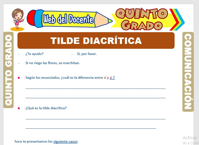 Ficha de Tilde Diacrítica para Quinto Grado de Primaria