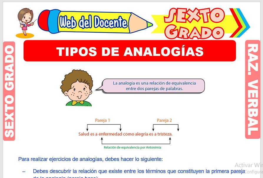 Ficha de Tipos de Analogías para Sexto Grado de Primaria