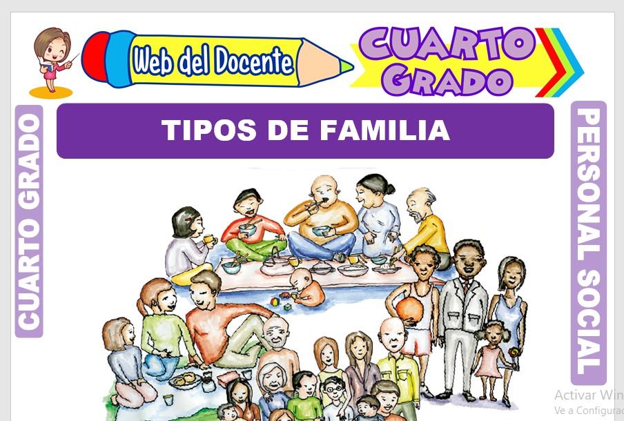 Ficha de Tipos de Familia para Cuarto Grado de Primaria