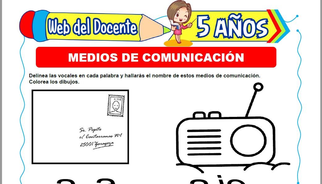 Muestra de la Ficha de Tipos de Medios de Comunicación para Niños de 5 Años