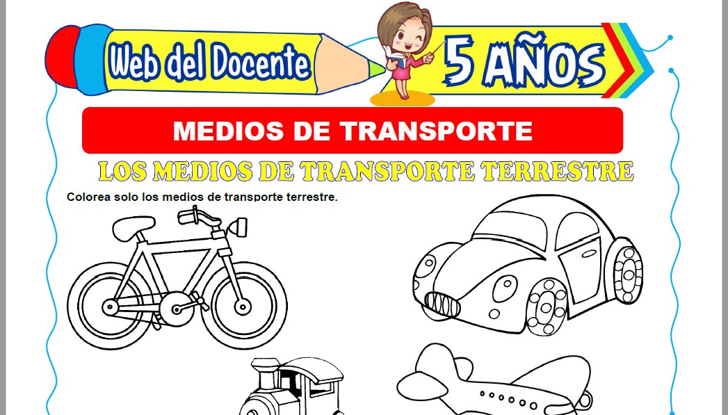 Muestra de la Ficha de Tipos de Medios de Transporte para Niños de 5 Años