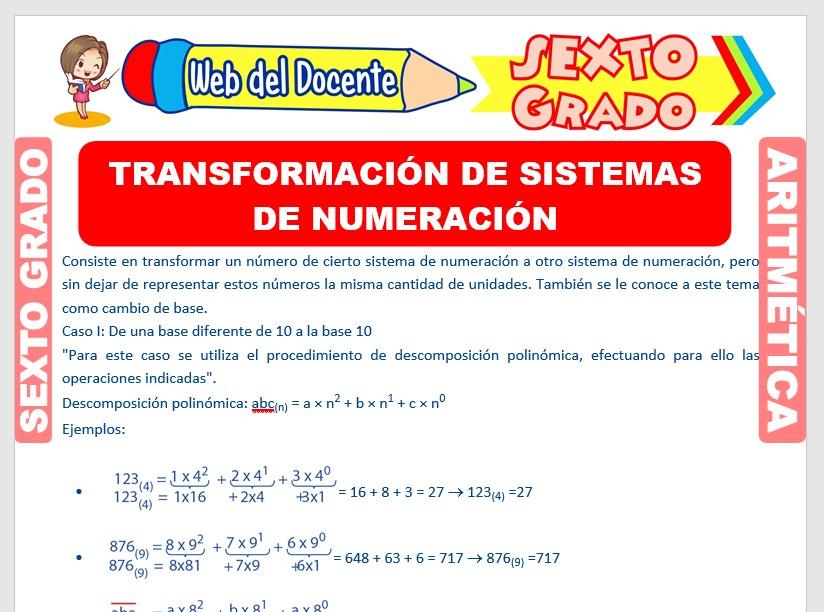 Ficha de Transformación de Sistemas de Numeración para Sexto Grado de Primaria