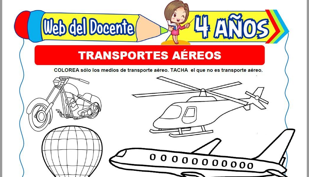Muestra de la Ficha de Transportes Aéreos para Niños de 4 Años