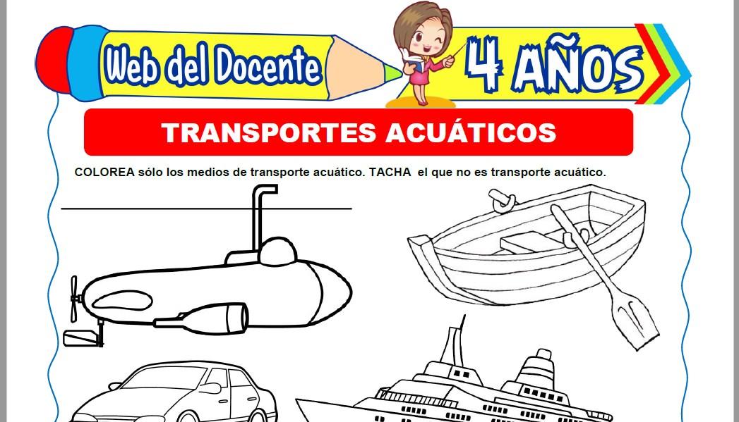 Muestra de la Ficha de Transportes Acuáticos para Niños de 4 Años
