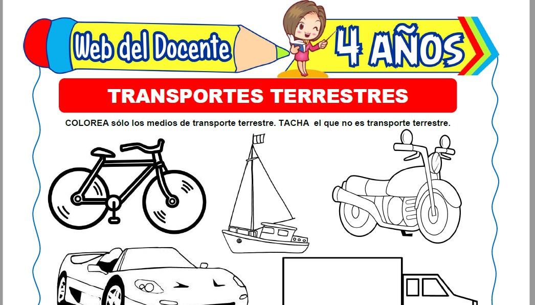 Muestra de la Ficha de Transportes Terrestres para Niños de 4 Años