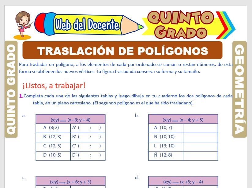 Ficha de Traslación de Polígonos para Quinto Grado de Primaria