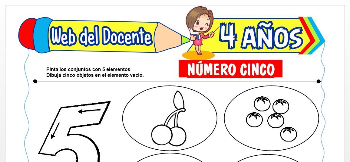 Ficha de Trazos del Número Cinco para Niños de 4 AÑOS