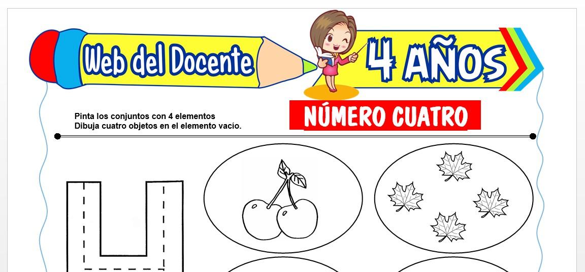 Ficha de Trazos del Número Cuatro para Niños de 4 AÑOS