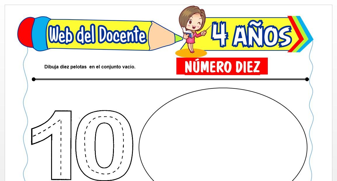 Ficha de Trazos del Número Diez para Niños de 4 AÑOS