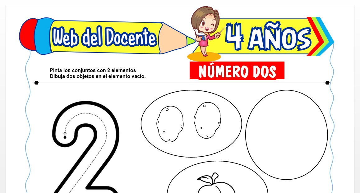 Ficha de Trazos del Número Dos para Niños de 4 AÑOS