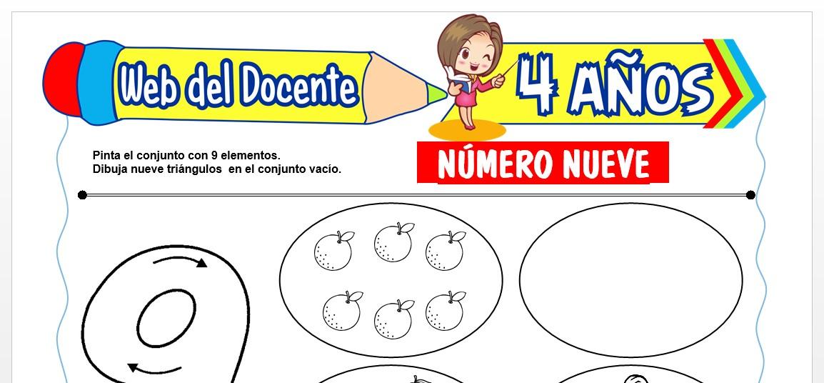 Ficha de Trazos del Número Nueve para Niños de 4 AÑOS