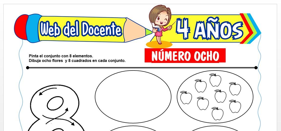 Ficha de Trazos del Número Ocho para Niños de 4 AÑOS