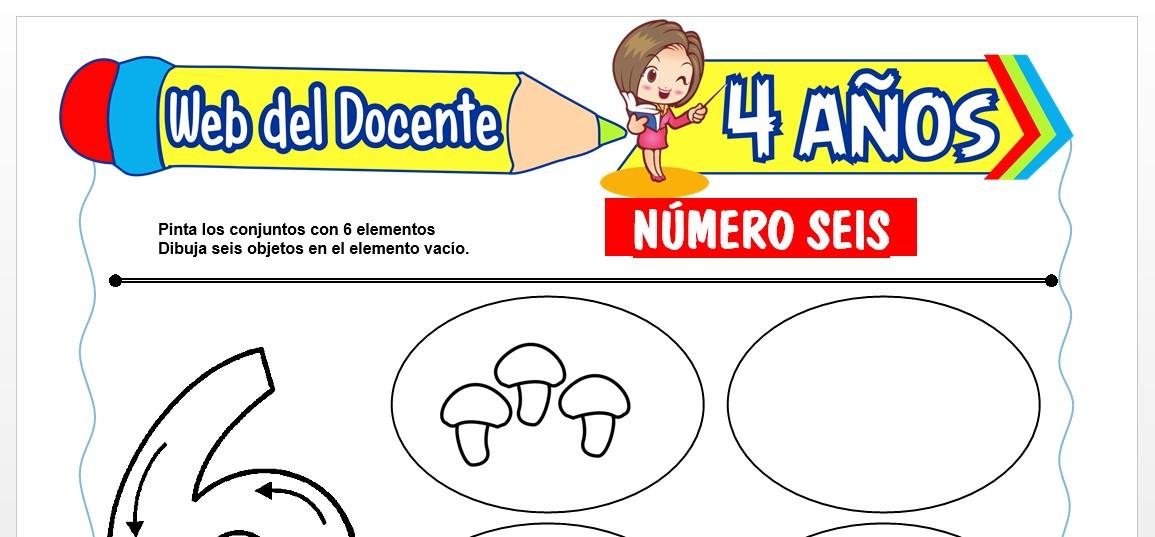 Ficha de Trazos del Número Seis para Niños de 4 AÑOS