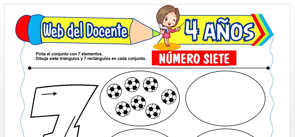 Ficha de Trazos del Número Siete para Niños de 4 AÑOS