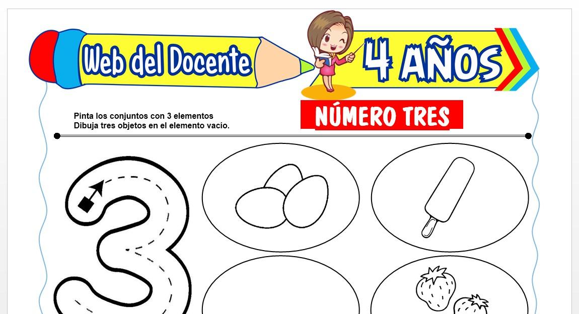 Ficha de Trazos del Número Tres para Niños de 4 AÑOS