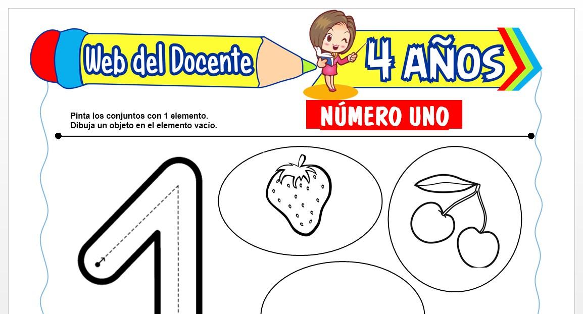 Ficha de Trazos del Número Uno para Niños de 4 AÑOS
