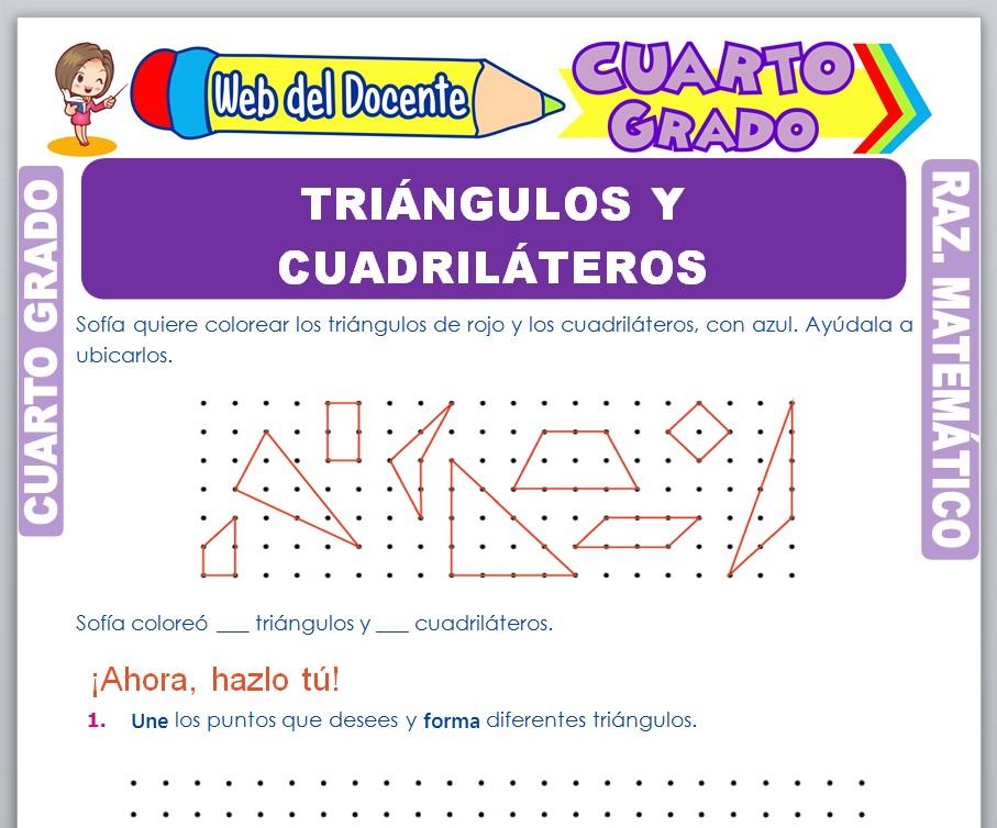 Ficha de Triángulos y Cuadriláteros para Cuarto Grado de Primaria