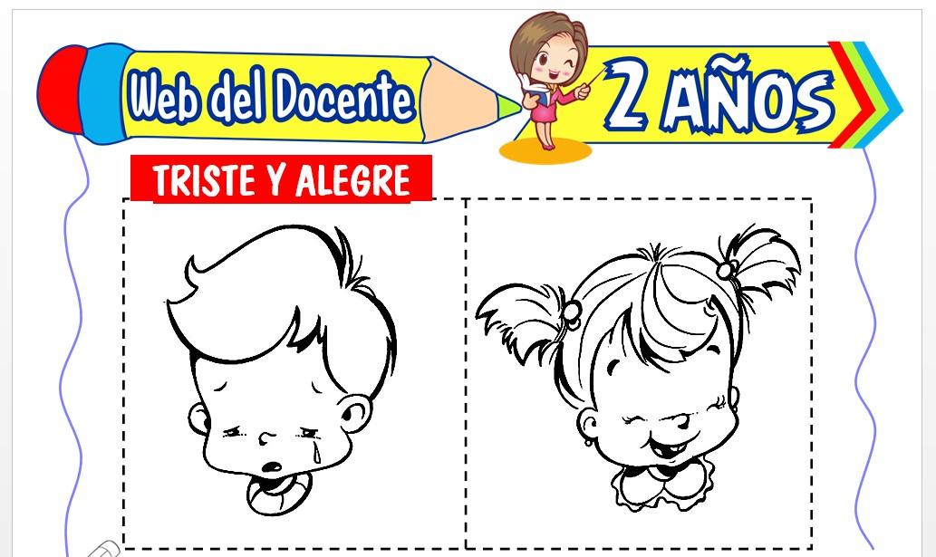 Ficha de Triste y Alegre para Niños de 2 Años