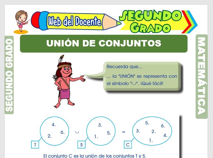Ficha de Unión de Conjuntos para Segundo Grado de Primaria
