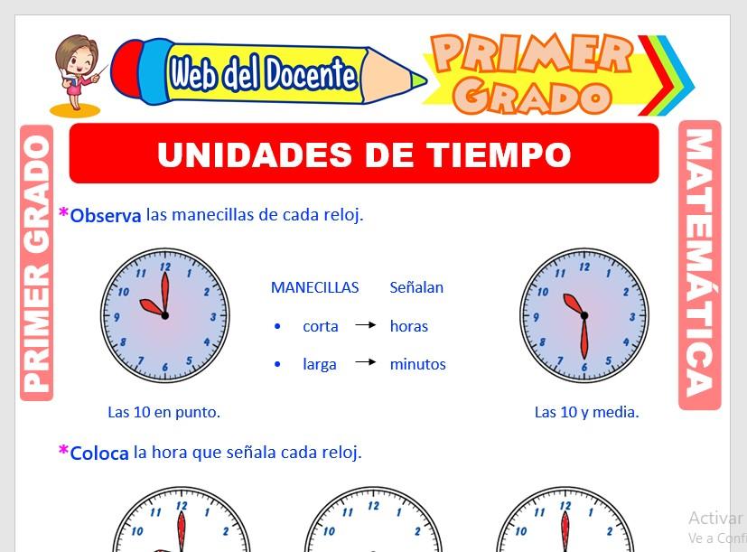 Ficha de Unidades de Tiempo para Primer Grado de Primaria
