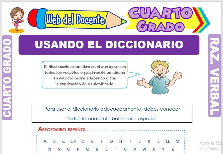 Ficha de Usando el Diccionario para Cuarto Grado de Primaria