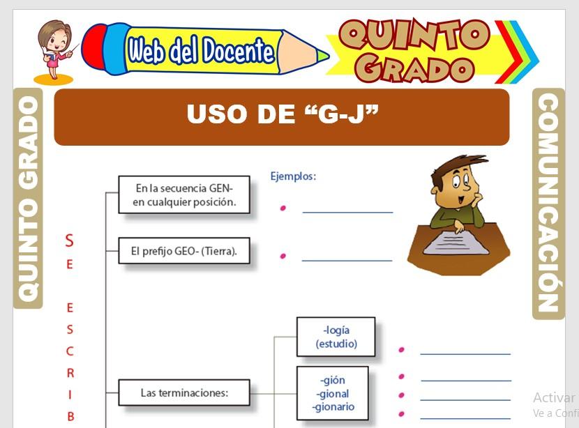 Ficha de Uso Correcto de la G y J para Quinto Grado de Primaria