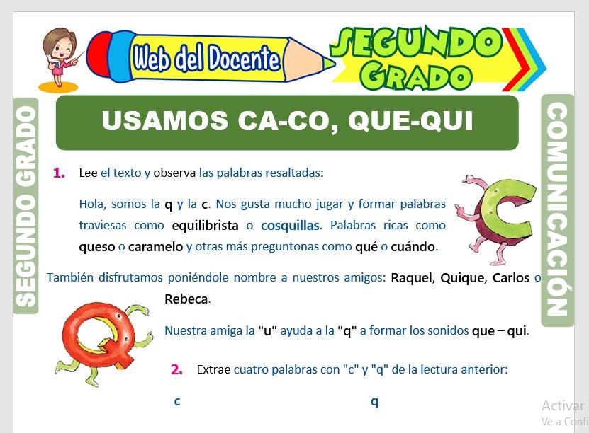 Ficha de Uso de la Ca, Co, Cu, Que y Qui para Segundo Grado de Primaria