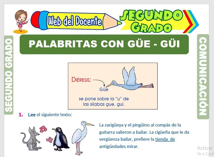 Ficha de Uso de la Güe - Güi para Segundo Grado de Primaria