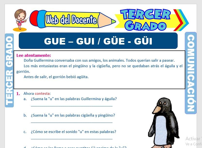 Ficha de Uso de la GUE GUI GÜE GÜI para Tercer Grado de Primaria