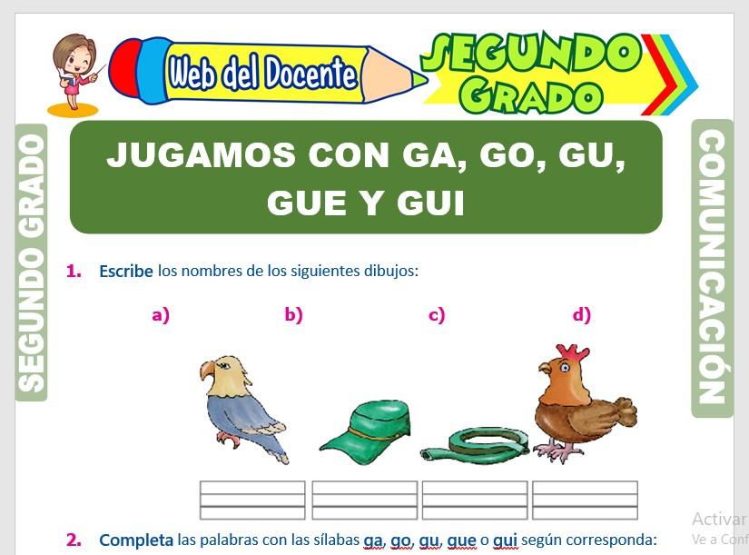 Ficha de Uso de la Ga Go Gu para Segundo Grado de Primaria
