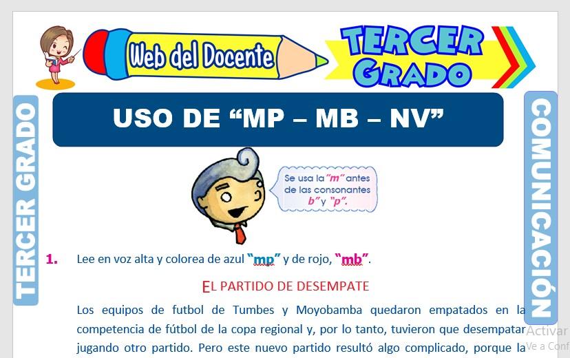 Ficha de Uso de la MP MB NV para Tercer Grado de Primaria