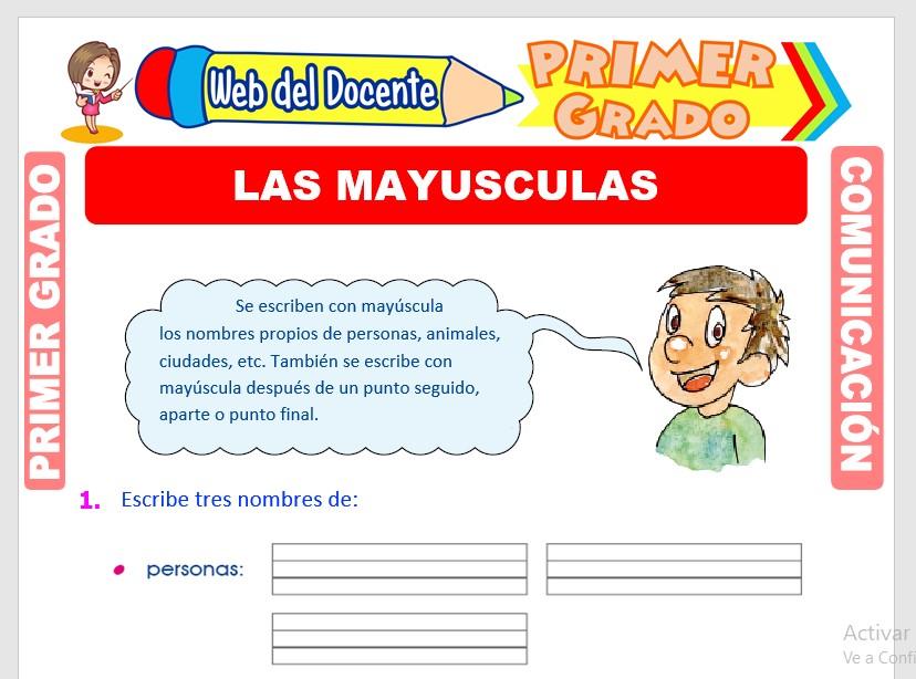 Ficha de Uso de la Mayúscula para Primero de Primaria