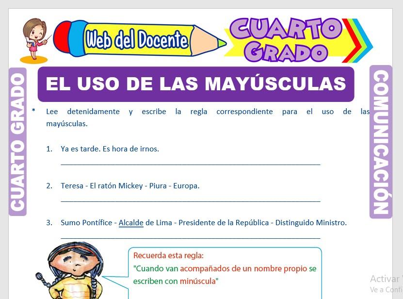 Ficha de Uso de las Mayúsculas para Cuarto Grado de Primaria
