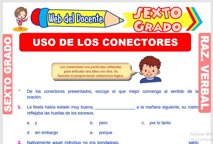 Ficha de Uso de los Conectores para Sexto Grado de Primaria
