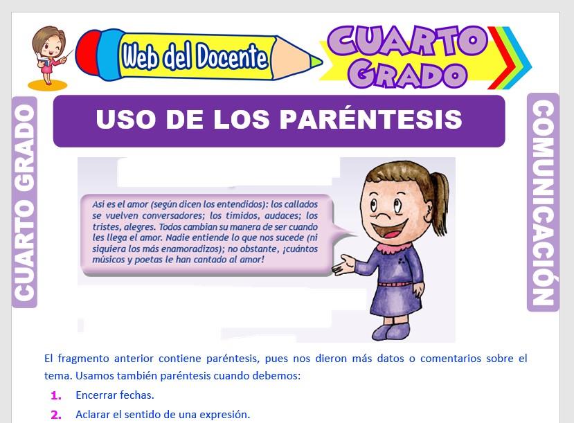 Ficha de Uso de los Paréntesis para Cuarto Grado de Primaria
