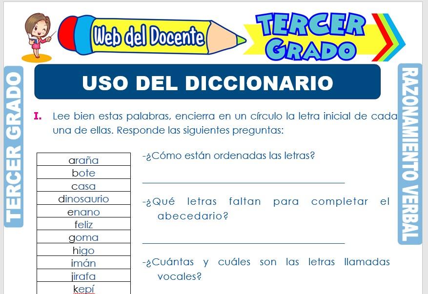 Ficha de Uso del Diccionario para Tercer Grado de Primaria