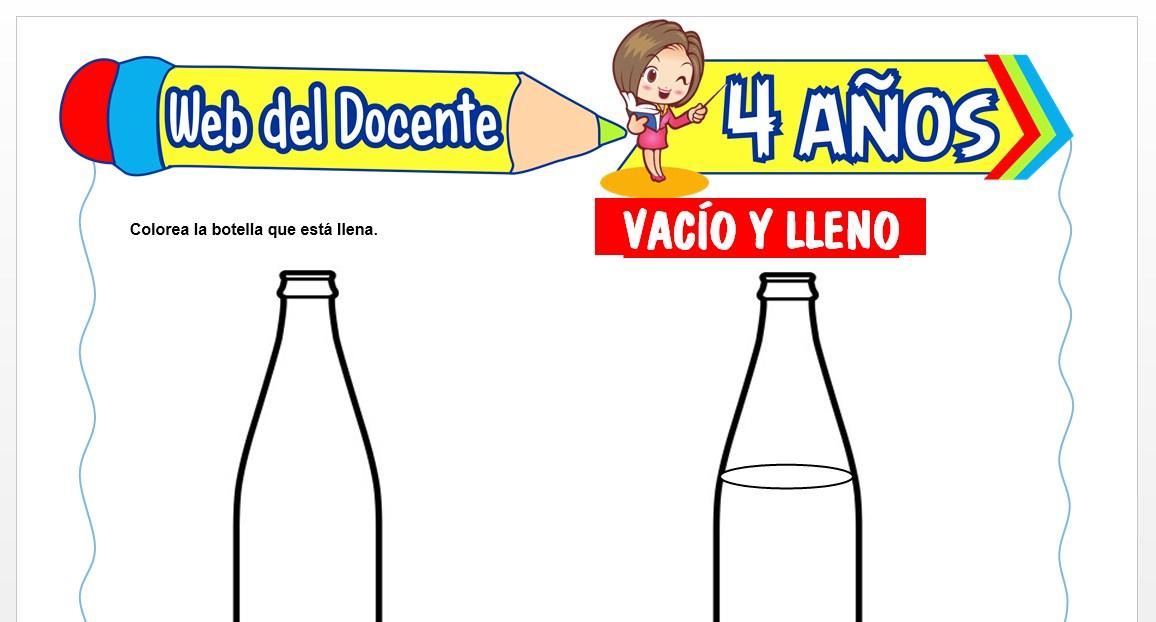 Ficha de Vacío y Lleno para Niños de 4 AÑOS