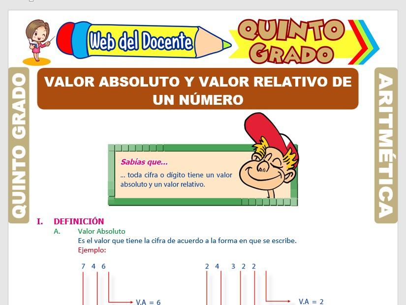 Ficha de Valor Absoluto y Valor Relativo de un Número para Quinto Grado de Primaria