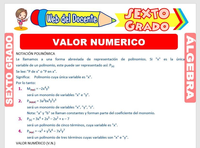 Ficha de Valor Numérico de los Polinomios para Sexto Grado de Primaria