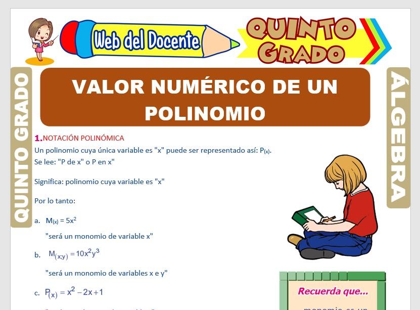 Ficha de Valor Numérico de un Polinomio para Quinto Grado de Primaria
