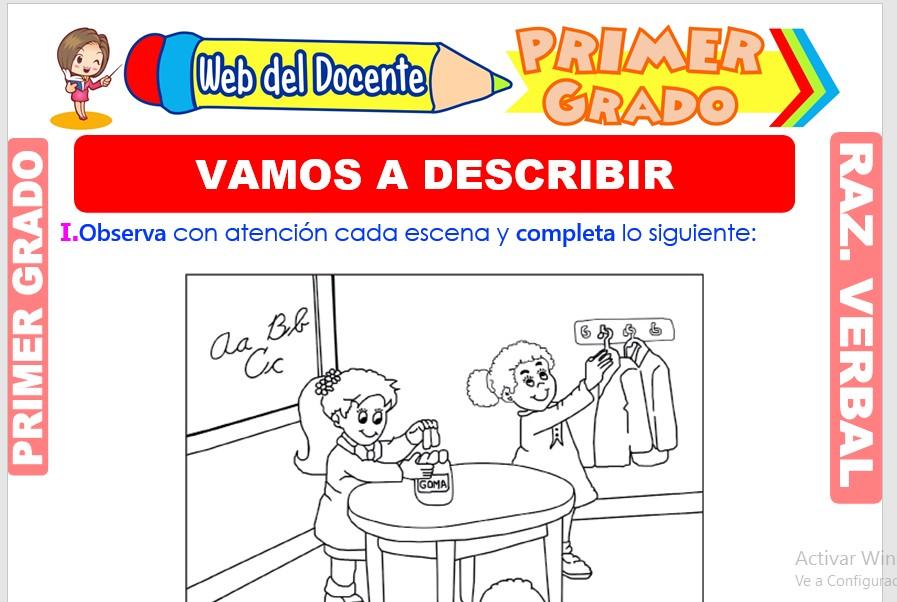 Ficha de Vamos a Describir para Primer Grado de Primaria