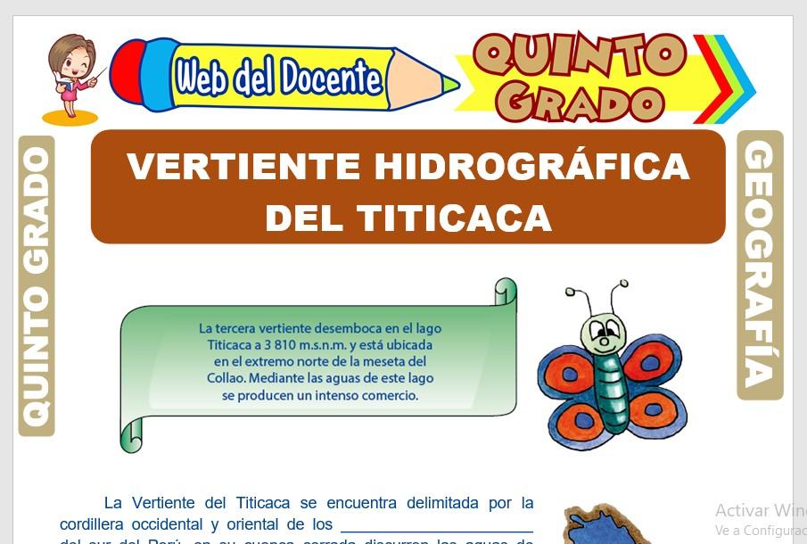 Ficha de Vertiente Hidrográfica del Titicaca para Quinto Grado de Primaria