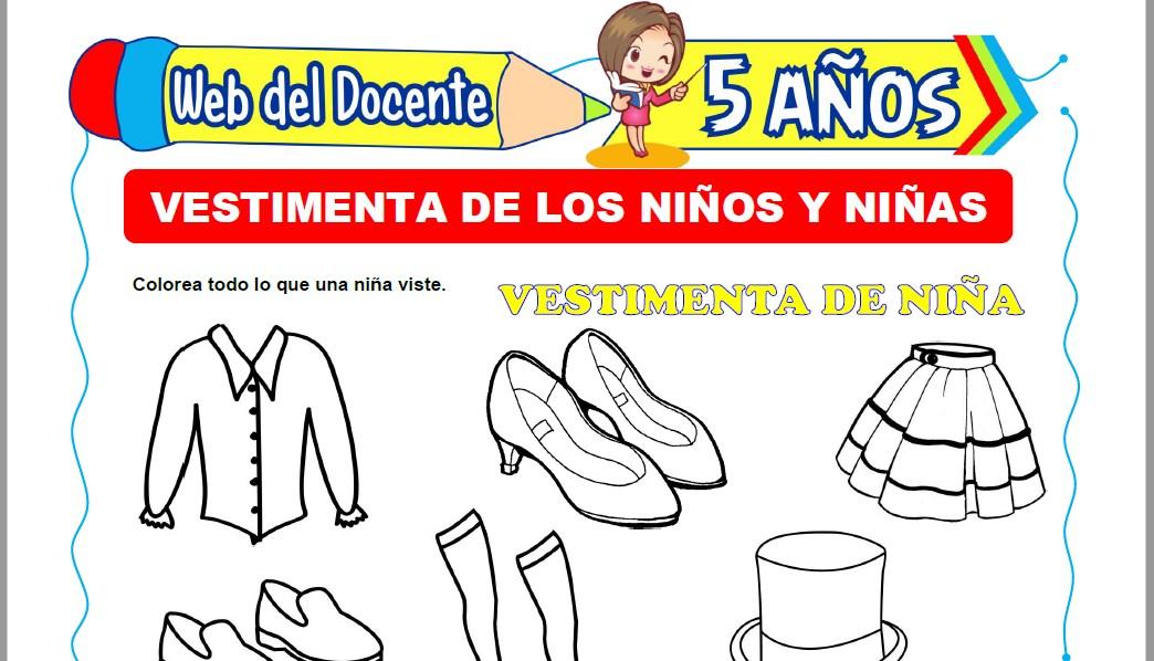 Muestra de la Ficha de Vestimenta de los Niños y Niñas para Niños de 5 Años