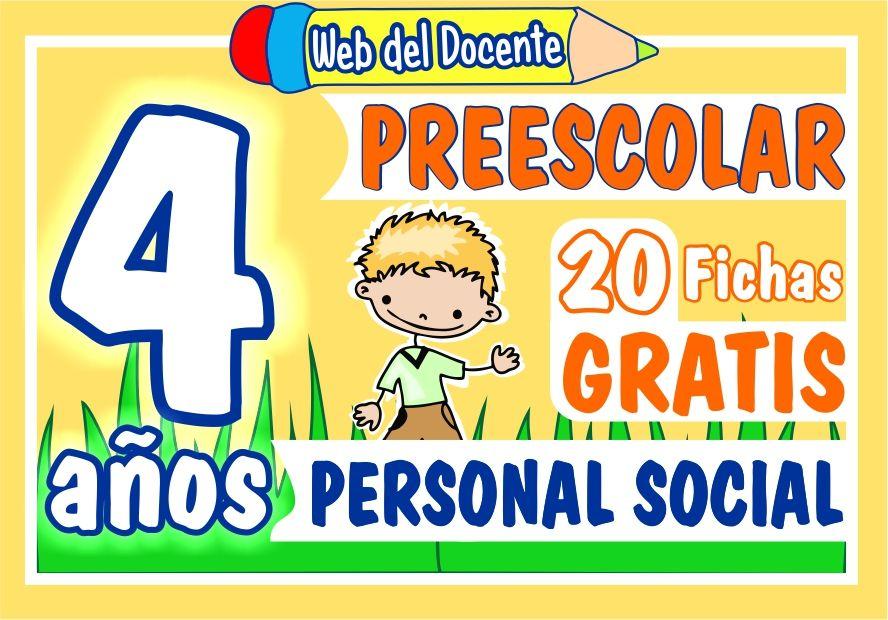 Fichas de Personal Social para Niños de Cuatro Años de Preescolar o Inicial